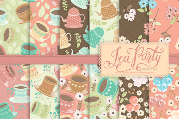 Print on Demand: Tea Party 01 - Seamless Patterns Graphic Patterns By Michelle Alzola - Image 2