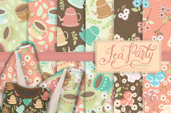 Print on Demand: Tea Party 01 - Seamless Patterns Graphic Patterns By Michelle Alzola - Image 1