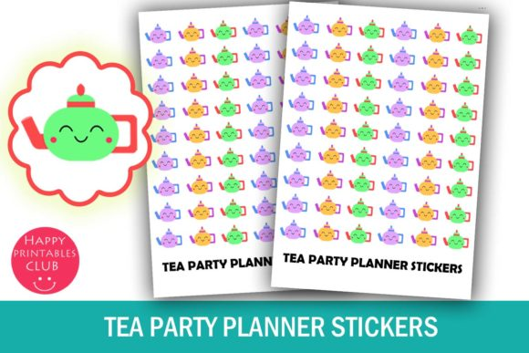Print on Demand: Tea Party Planner Stickers Graphic Illustrations By Happy Printables Club