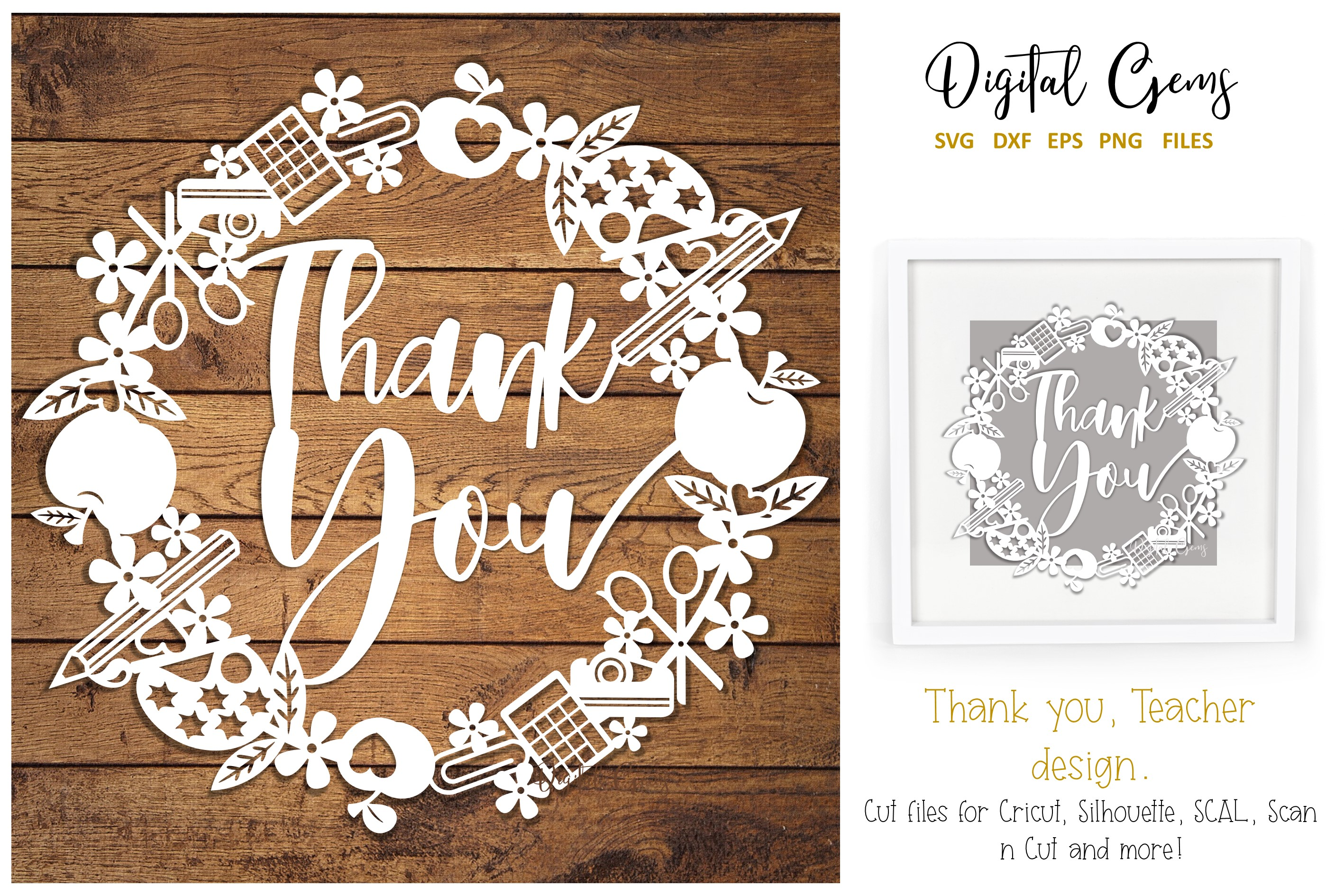 Download Free Thank You Teacher Design Graphic By Digital Gems Creative Fabrica for Cricut Explore, Silhouette and other cutting machines.