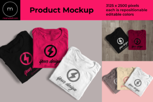 Three Folded Tees Product Mock Up Graphic By RisaRocksIt