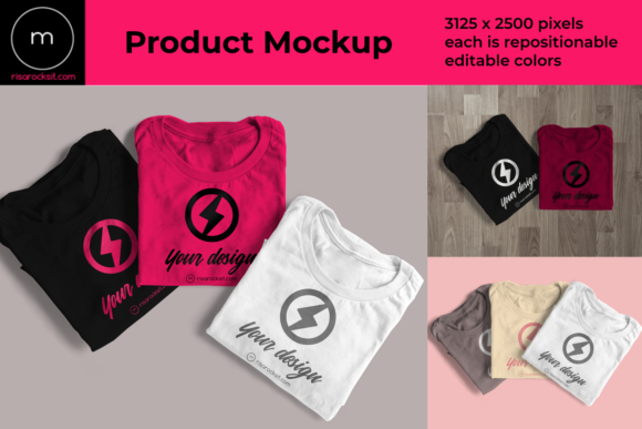 Three Folded Tees Product Mock Up Graphic Product Mockups By RisaRocksIt - Image 1