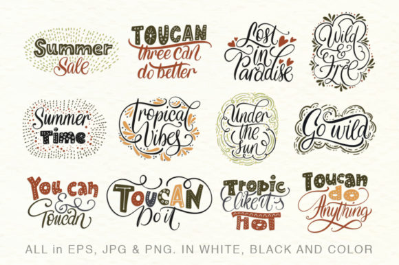 Print on Demand: Toucan. Folk Art Graphic Set. Graphic Illustrations By Red Ink - Image 2