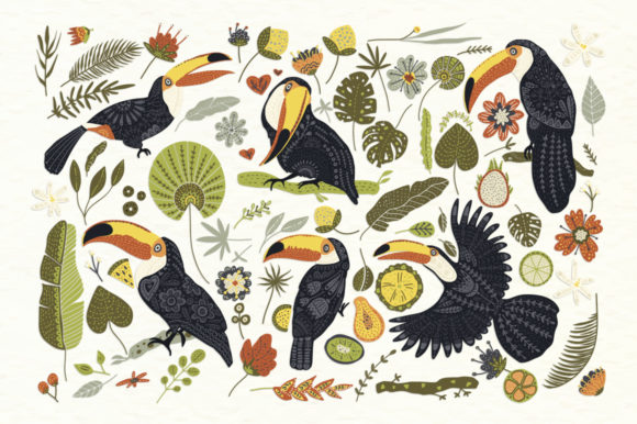 Print on Demand: Toucan. Folk Art Graphic Set. Graphic Illustrations By Red Ink - Image 3