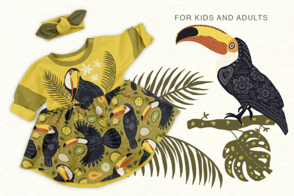 Print on Demand: Toucan. Folk Art Graphic Set. Graphic Illustrations By Red Ink - Image 6