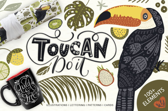 Print on Demand: Toucan. Folk Art Graphic Set. Graphic Illustrations By Red Ink