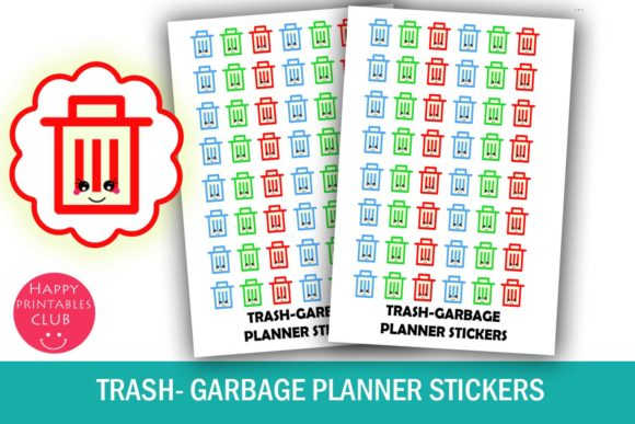 Print on Demand: Trash Planner Stickers-Garbage Stickers Graphic Illustrations By Happy Printables Club