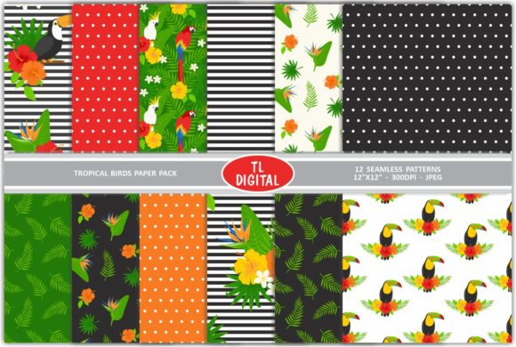 Tropical Birds Floral Pattern Pack Graphic By TL Digital Image 1