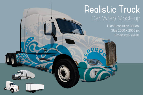 Truck with Container Mock-up Graphic Product Mockups By gumacreative - Image 3