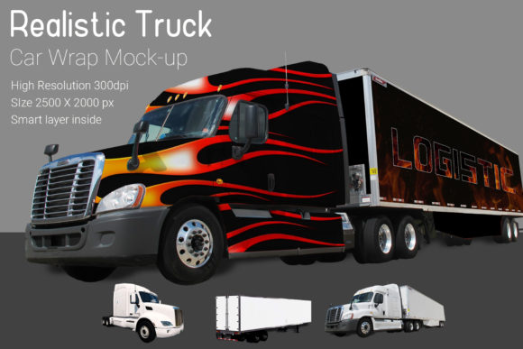 Truck with Container Mock-up Graphic By gumacreative