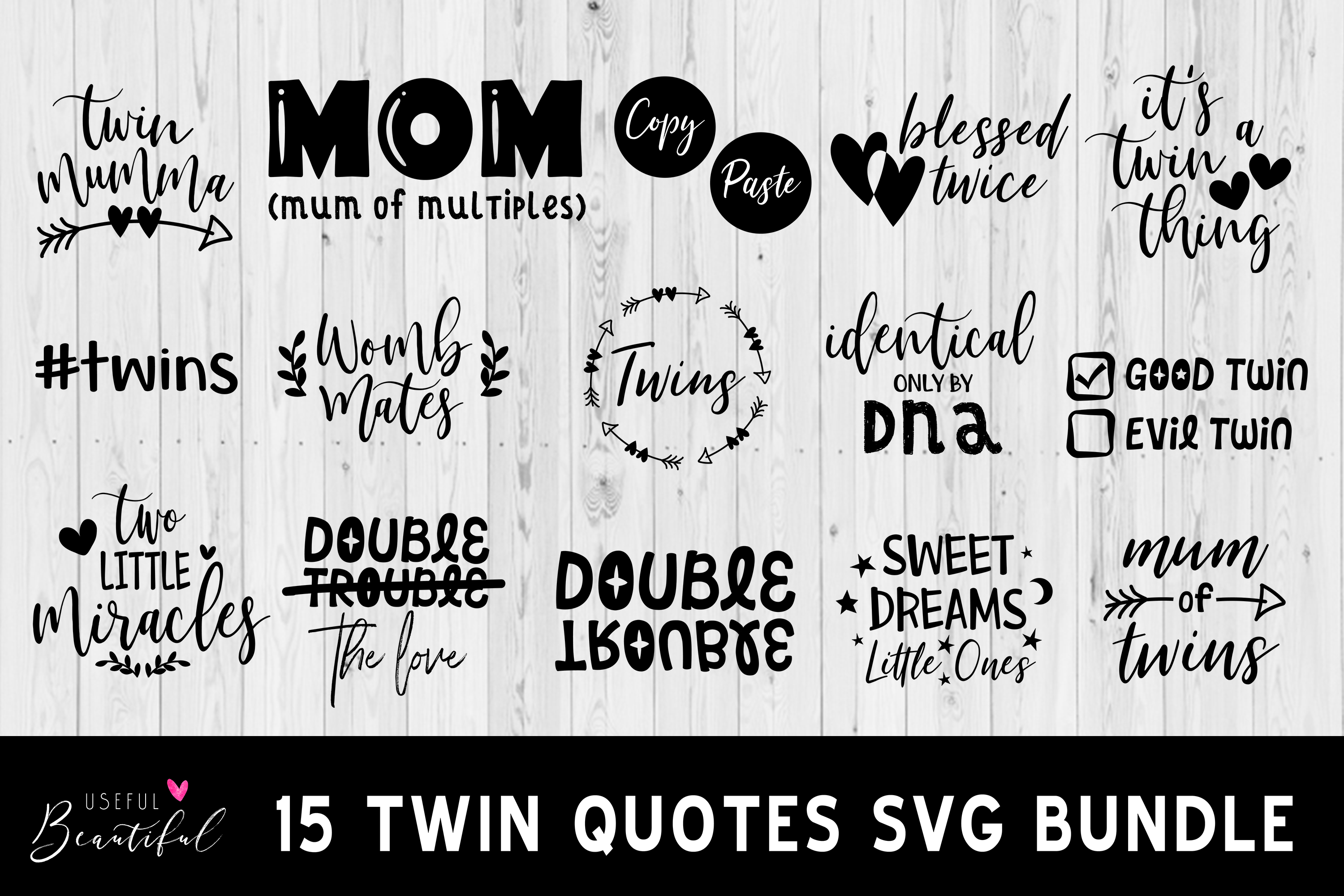 Download Free Twin Quote Bundle Graphic By Usefulbeautiful Creative Fabrica for Cricut Explore, Silhouette and other cutting machines.