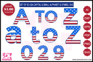 USA Capital & Small Alphabet and Symbol Graphic By DesignsHavenLLC