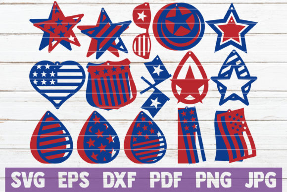 USA Earrings SVG Cut Files Graphic Graphic Templates By MintyMarshmallows
