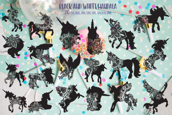 Unicorn Bundle Mandala Graphic By Svg Story Creative Fabrica