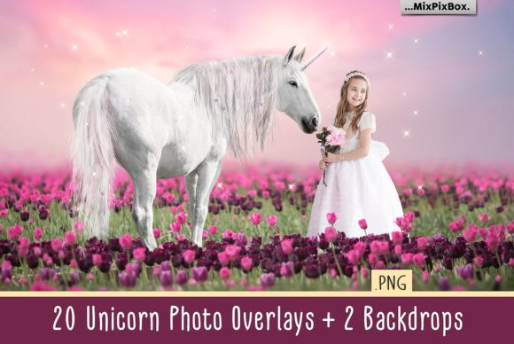 Print on Demand: Unicorn PNG Overlays Pack+ Backdrops Graphic Layer Styles By MixPixBox