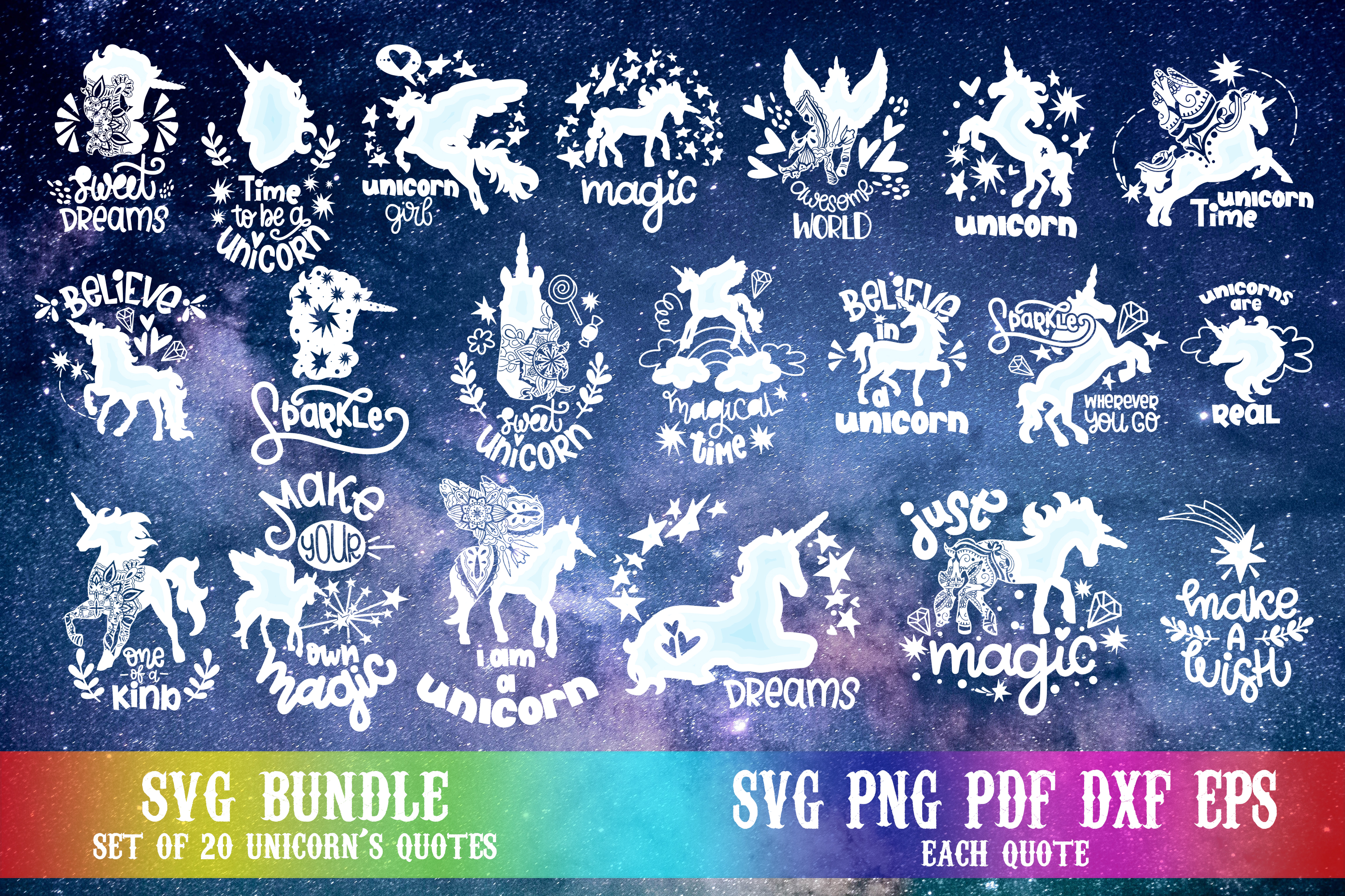 Download Free Unicorn Bundle Hand Lettered Quotes Graphic By Svg Story for Cricut Explore, Silhouette and other cutting machines.