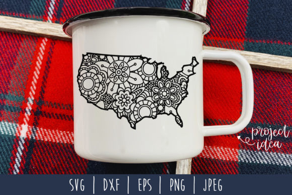 Download Free United States Mandala Zentangle Graphic By Savoringsurprises for Cricut Explore, Silhouette and other cutting machines.