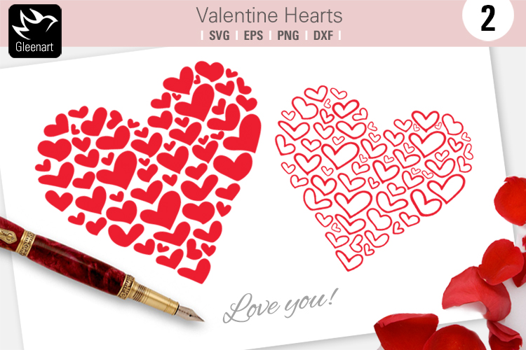 Download Free Valentine Hearts Clipart Graphic By Gleenart Graphic Design for Cricut Explore, Silhouette and other cutting machines.