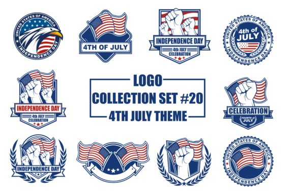 Print on Demand: Vector Logo Bundle with 4th July Theme Graphic Logos By azkaryzki