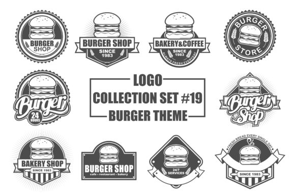 Print on Demand: Vector Logo Bundle with Burger Theme Grafik Logos von azkaryzki