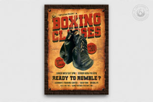 Vintage Boxing Classes Flyer Template Graphic By ThatsDesignStore