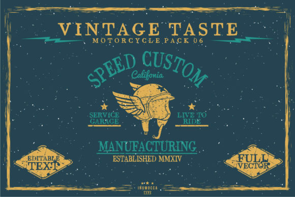 Vintage Taste Motorcycle Graphic Logos By inumocca_type