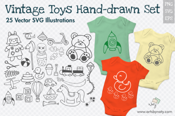 Download Free Vintage Toys 25 Svg Illustrations Graphic By Artsbynaty for Cricut Explore, Silhouette and other cutting machines.