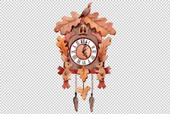 Download Free Vintage Wall Clock Watercolor Png Graphic By Mystocks Creative for Cricut Explore, Silhouette and other cutting machines.