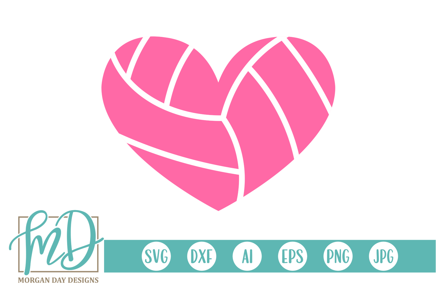 Download Free Volleyball Heart Graphic By Morgan Day Designs Creative Fabrica for Cricut Explore, Silhouette and other cutting machines.
