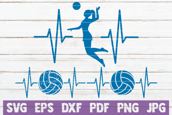 Download Free Volleyball Heartbeat Cut Files Graphic By Mintymarshmallows for Cricut Explore, Silhouette and other cutting machines.