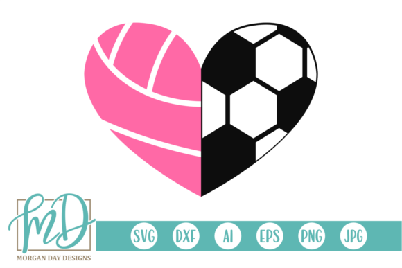 Download Free Volleyball Soccer Heart Svg Graphic By Morgan Day Designs for Cricut Explore, Silhouette and other cutting machines.