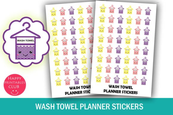 Print on Demand: Wash Towel Planner Stickers-Clean Towel Graphic Illustrations By Happy Printables Club