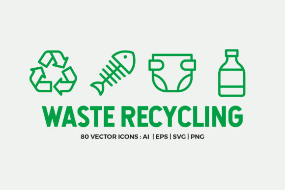 Waste Recycling Line Icons Graphic Icons By abstractocreate