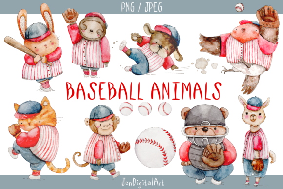 Watercolor Baseball Animals Graphic By Jen Digital Art