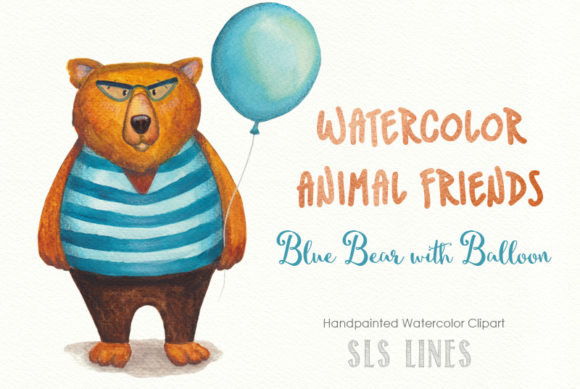 Print on Demand: Watercolor Bear in Sweater with Balloon! Graphic Illustrations By SLS Lines