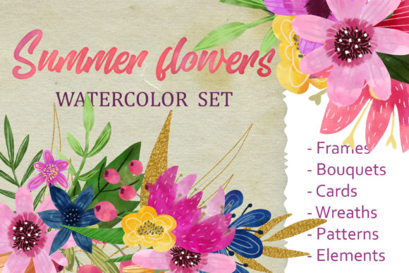 Download Free Watercolor Clipart Flowers Graphic By Svg Story Creative Fabrica for Cricut Explore, Silhouette and other cutting machines.