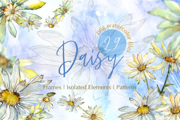 Print on Demand: Watercolor Daisy PNG Set Graphic Illustrations By MyStocks - Image 1