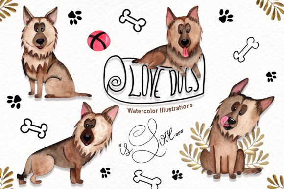 Watercolor Dog Illustrations Graphic By tanatadesign