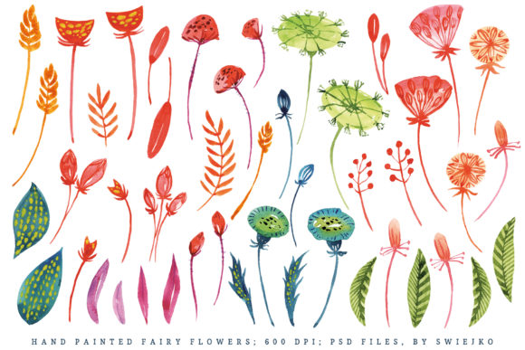 Download Free Watercolor Fantasy Flowers Hand Painted Graphic By Swiejko for Cricut Explore, Silhouette and other cutting machines.
