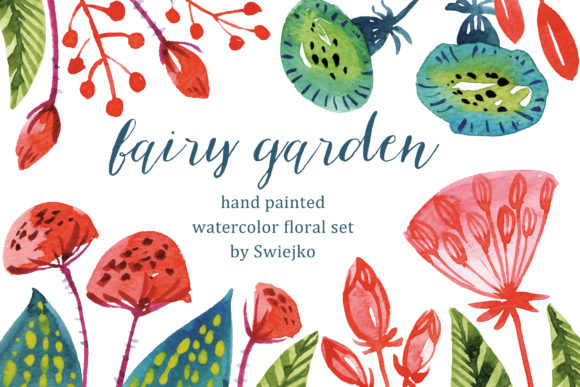 Print on Demand: Watercolor Fantasy Flowers Hand Painted Graphic Illustrations By swiejko