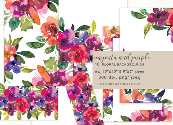 Watercolor Floral Backdrop Graphic Illustrations By Patishop Art