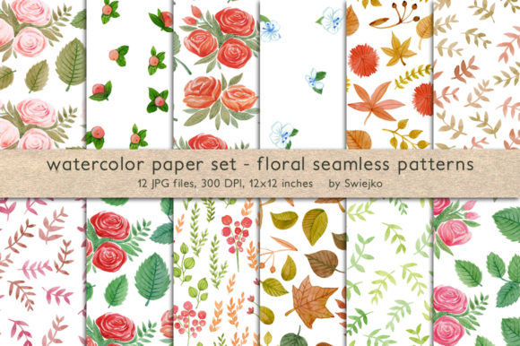 Print on Demand: Watercolor Floral Patterns Graphic Patterns By swiejko