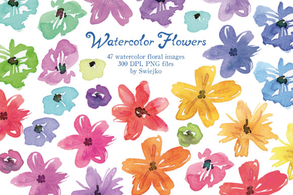 Print on Demand: Watercolor Flowers Graphic Illustrations By swiejko