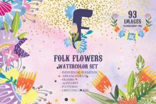 Watercolor Folk Flowers Summer Set Graphic By SVG Story