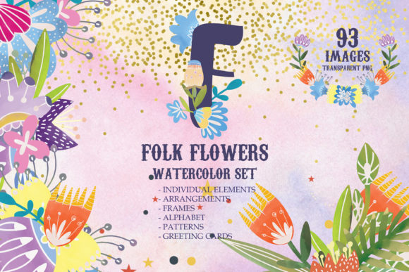 Download Free Watercolor Folk Flowers Summer Set Graphic By Svg Story for Cricut Explore, Silhouette and other cutting machines.