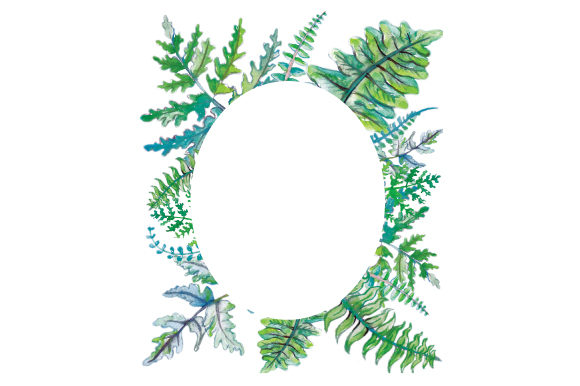 Download Free Watercolor Frame Of Ferns Svg Cut File By Creative Fabrica for Cricut Explore, Silhouette and other cutting machines.