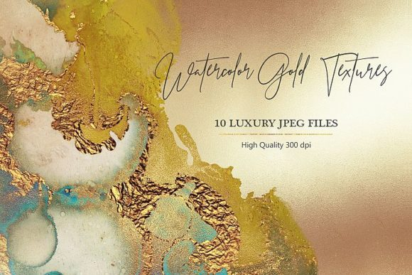 Print on Demand: Watercolor Gold Textures Graphic Brushes By Creative Paper