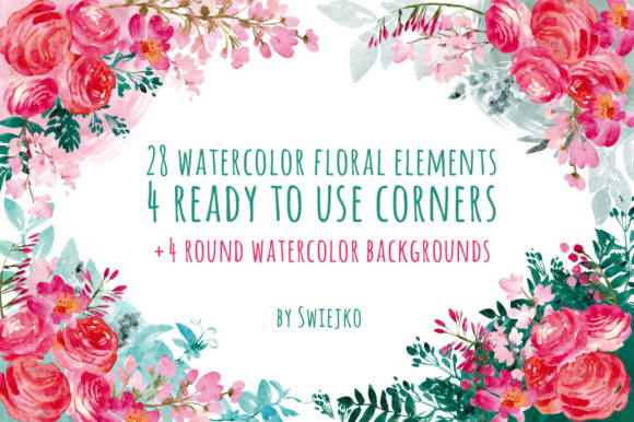 Download Free Watercolor Pastel Flowers I Graphic By Swiejko Creative Fabrica for Cricut Explore, Silhouette and other cutting machines.