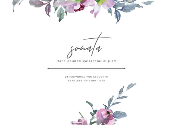 Watercolor Lilac Color Roses Clipart Graphic Illustrations By Patishop Art