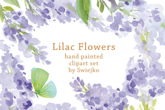 Print on Demand: Watercolor Lilac Flowers Graphic Illustrations By swiejko